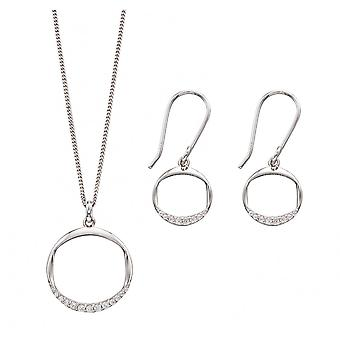 Fiorelli Silver & Cz Round Necklace & Earring Set