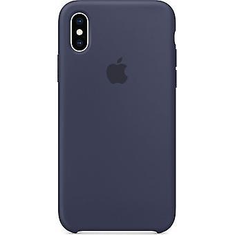 Alkuperäinen pakattu omena silikoni mikrokuitu kansikotelo iPhone X / XS - Keskiyön sininen