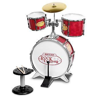 Bontempi metallic silver drum set 4 PC-uri cu scaun