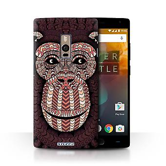 STUFF4 Case/Cover for OnePlus 2/Two/Monkey-Red/Aztec Animal Design