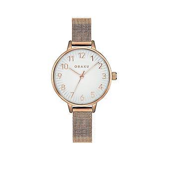 Obaku Syren Rose Gold Tone Women's Mesh Strap Wristwatch V237LXVIMV
