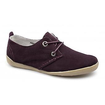 Down To Earth Lorena Ladies Suede Lace-up Padded Shoes Burgundy