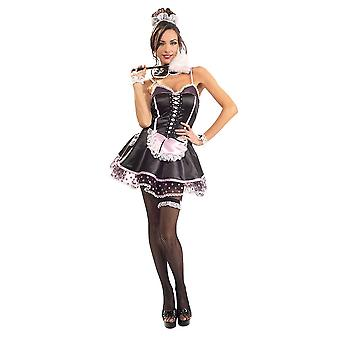 Womens Naughty French Maid Fancy Dress Costume (Size 8-10)