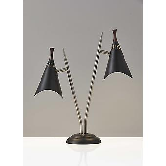 Matte Black Metal Two Light Desk Lamp Smart Outlet Compatible