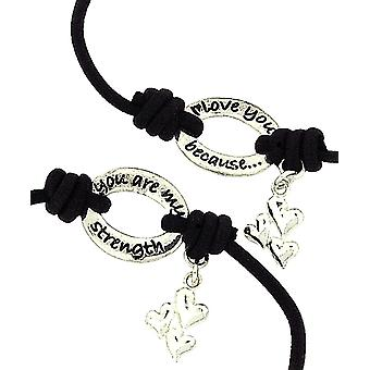 BANDZ 'I Love You Because You Are My Strength' Sentiment Bracelet