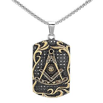 Past master two tone stainless steel masonic pendant necklace