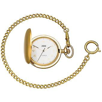 JOBO pocket watch with chain manual winding gold plated with jump lid