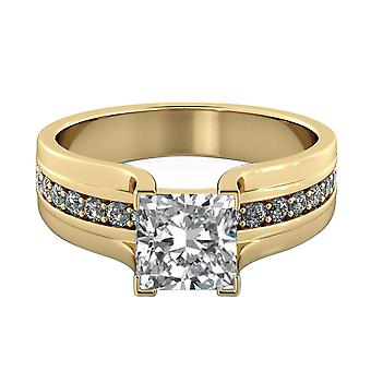 1.5 Carat G VS2 Diamond Engagement Ring 14K Yellow Gold Solitaire w Accents Bridge Channel set