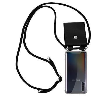 Cadorabo funda de la cadena del teléfono para la cubierta de la caja de la caja del Samsung Galaxy A50 - funda de la capa del collar de silicona con anillos de plata - cable de la banda y la caja protectora de la caja extraíble