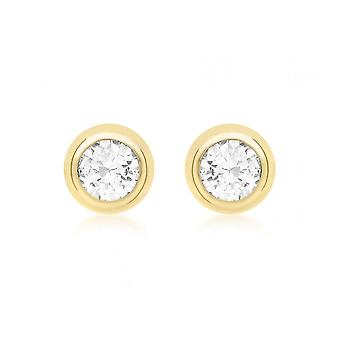 Eternity 9ct Or 9mm Round Cubic Zirconia Rubover Stud Boucles d'oreilles
