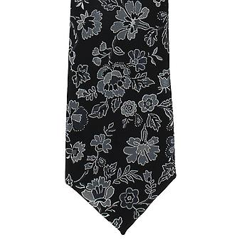 Michelsons of London Foliage Floral Polyester Tie - Black/Grey