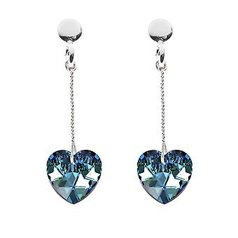 Ah! Jewellery 10mm Bermuda Blue Heart Crystals From Swarovski Drop Earrings. Finished In Sterling Silver, Stamped 925.