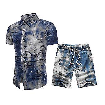 Allthemen Män & apos; s Fashion Tryckt kortärmad skjorta kostym