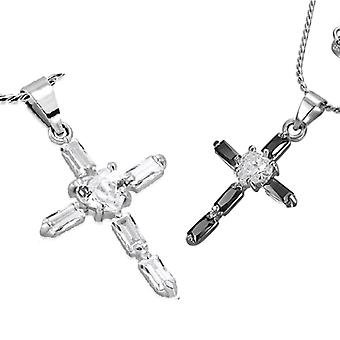 Sacred heart small cubic zirconia cross pendant necklace