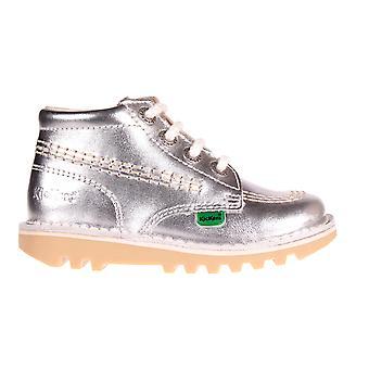 Kickers Kick Hi Leather Infant Toddler Kids School Shoe Boot Silver