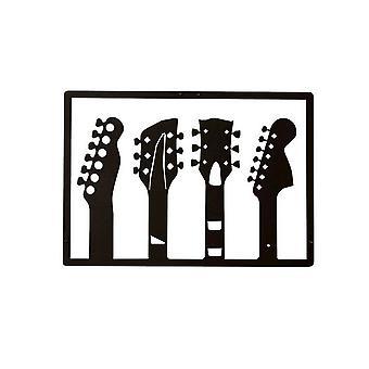 Decorazione Da Parete Guitar Color Nero in Acciaio 46x0,15x32 cm