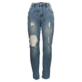 K Jordan Women's Jeans Destructed Cuff Medium Wash Denim Blue