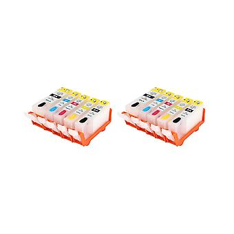 RudyTwos 2x Replacement for Canon CLI-521 Set Ink Unit Black Cyan Yellow & Magenta + 1x Extra Black (5 Pack) Compatible with Pixma MP540, MP540x, MP550, MP560, MP620, MP620b, MP630, MP640, MP980, MP99