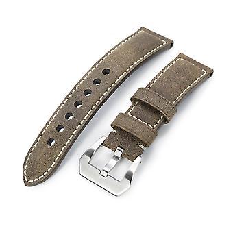 Strapcode Kalb Leder Armband Miltat 21mm, 22mmmm echte olivbraun beunruhigt Leder Armband extra weich, Beige Nähte