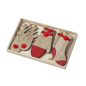 Wooden Festive Christmas Hanging Decorations (Box Of 6)