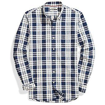 Goodthreads الرجال & apos;ق سليم تناسب طويلة الأكمام منقوشة قميص شامبراي, Windowpane, كبيرة