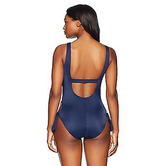 Brand - Coastal Blue Women's One Piece Swimsuit, New Navy, M