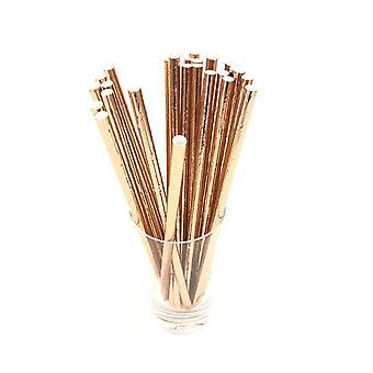 25PCS Disposable Striped Paper Straws Golden