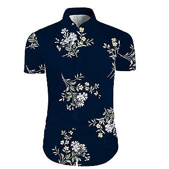 Allthemen Men & apos;s Casual Fashion Beach Printing Blommor Kortärmad skjorta