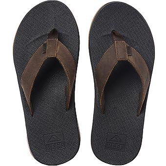 Reef Mens Leather Fanning Low Slip On Summer Beach Pool Flip Flops Sandals Brown