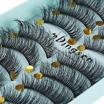 10 Pairs 3d -soft Faux Mink Hair False Eyelashes, Natural Messy Eyelash,