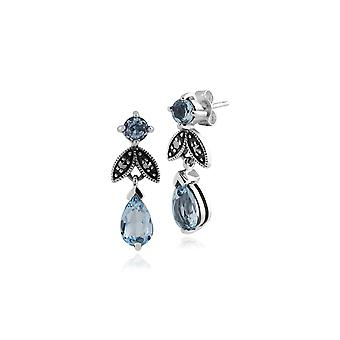Art Nouveau Style Pear Blue Topaz & Marcasite Drop Earrings in 925 Sterling Silver 214E530301925