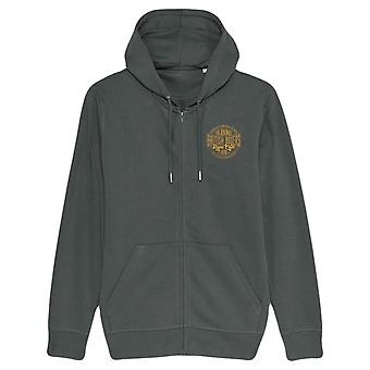 British Boxers Fight Club Vintage Small Logo Zip-Up Hoodie - Anthracite Grey/Mustard Yellow