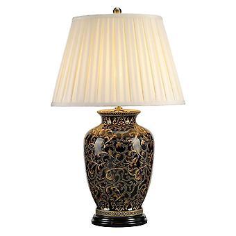 1 Lekka duża lampa stołowa Czarny, Złoty, E27