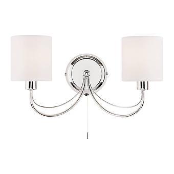 Endon Phantom - 2 Light Indoor Wall Light Chrome, White Tc Fabric, E14