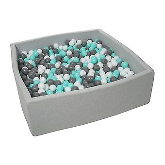 Poço de bola quadrada 120x120 cm com 1200 bolas brancas, cinza e turquesa