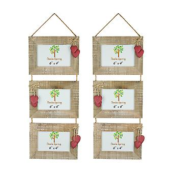 Nicola Spring Set of 5 6 x 4 Wooden Hanging Multi 3 Photo Picture Frames - Pasuje 6x4&; Zdjęcia - Red Hearts
