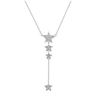 Dew Silver Cubic Zirconia Twinkling Star Lariat 18 Necklace 97002CZ027