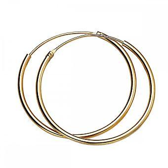 Comienzos Plata Esterlina H246 Yell Oro 30mm X 1.5mm Pendientes de aro