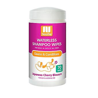 Nootie Waterless Shampoo Wipes for Dogs & Cats - Cherry Blossom, 70 Pack