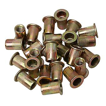 25pcs M6 Instruments Furniture Flat Head Rivet Nut High Efficiency