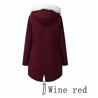 Winter Women's Cotton Coat White Plush Stand Collar Coat Mid-length Hooded Warm And Velvet Cotton Coat