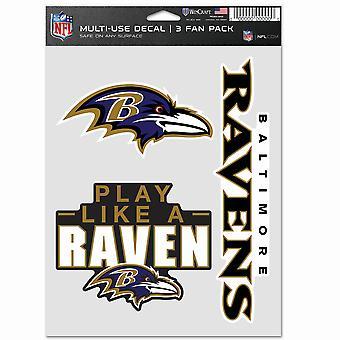 NFL ملصقا متعددة الاستخدامات مجموعة من 3 20x15cm -- بالتيمور الغربان