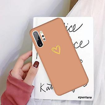 لهاتف Galaxy Note10+ ذهبي حب القلب نمط متجمد TPU واقية حالة (المرجان أورانج)