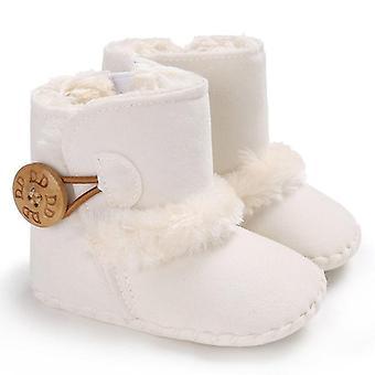 Pasgeboren baby baby sneeuw laarzen / winter warme schoenen, solid button pluche enkel
