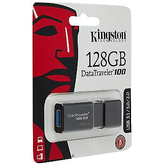 Kingstondt100g3/128gb datatraveler 100 g3 usb 3.0, 3.1 flash drive, 128 gb, black pack of 1
