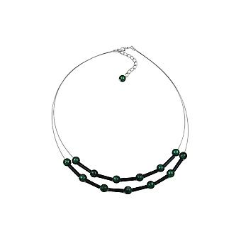 Necklace Green And Black Beads On Coated Flexible Wire