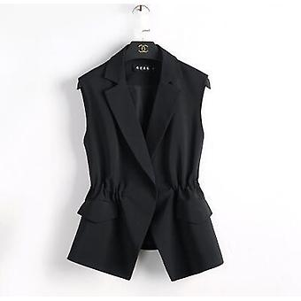 נשים חליפה אפוד סגנון קצר אלסטי מותן רזה אלגנטי משרד גודל גדול נקבה