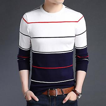 New Fashion Brand Sweater Mens Pullover Striped Slim Fit Jumpers Knitted Woolen