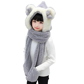Klv Kids 3 In 1 Warm Plush Winter Hat Cute Bowknot Bear Ears Scarf Gloves