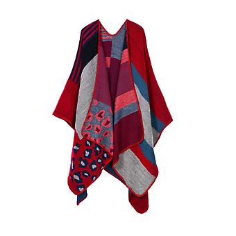 Ladies Autumn And Winter Plus Size Leopard Print Red Warm Scarf Blanket Shawl